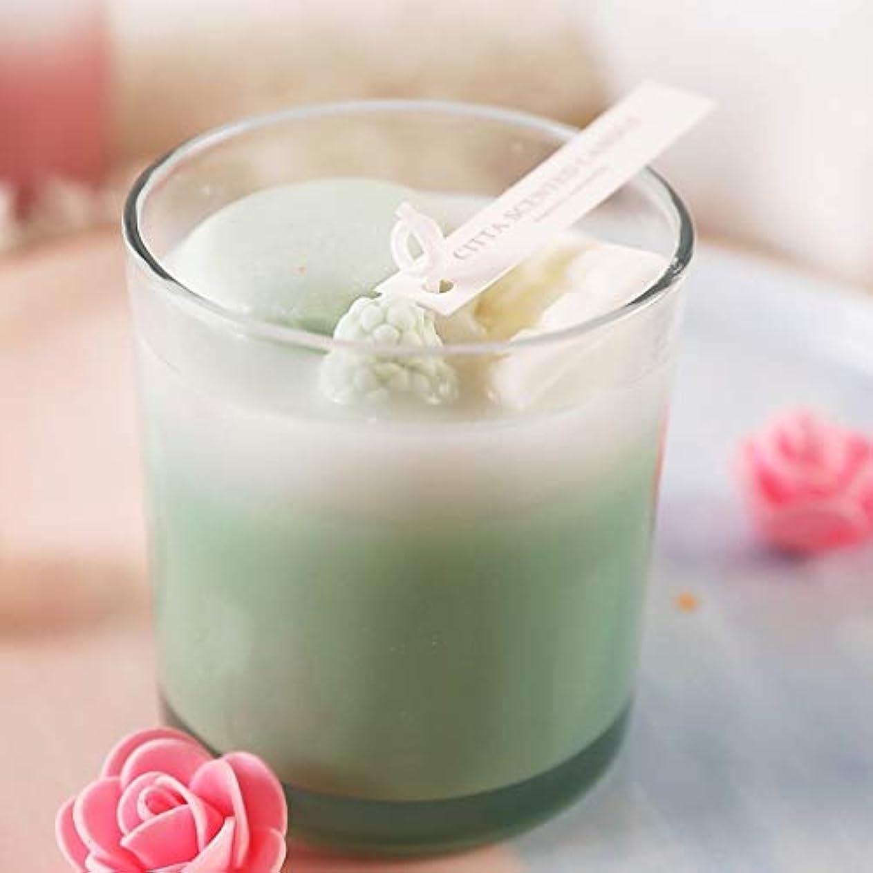 スポークスマン彼らの華氏ストレスリリーフとアロマセラピーのための強い香りエッセンシャルオイルと香りのキャンドルギフト、カップポータブルグラスキャンドルの女性のギフト,グリーン
