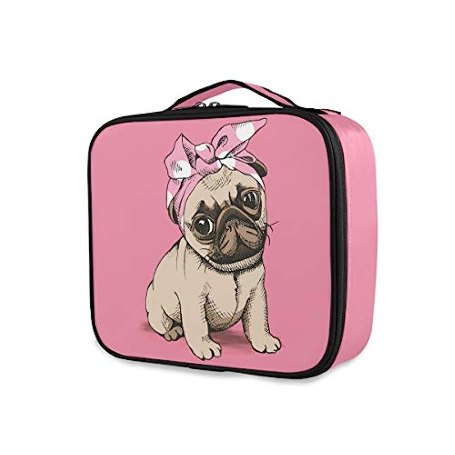 プーノ大いに不愉快Akiraki 化粧ポーチ メイクボックス 大容量 機能的 おしゃれ かわいい パグ ピンク 犬柄 いぬ 動物柄 ポーチ 小物入れ メイクポーチ 仕切り 仕分け 収納バッグ 収納ケース 化粧バッグ 旅行 出張 コンパクト...