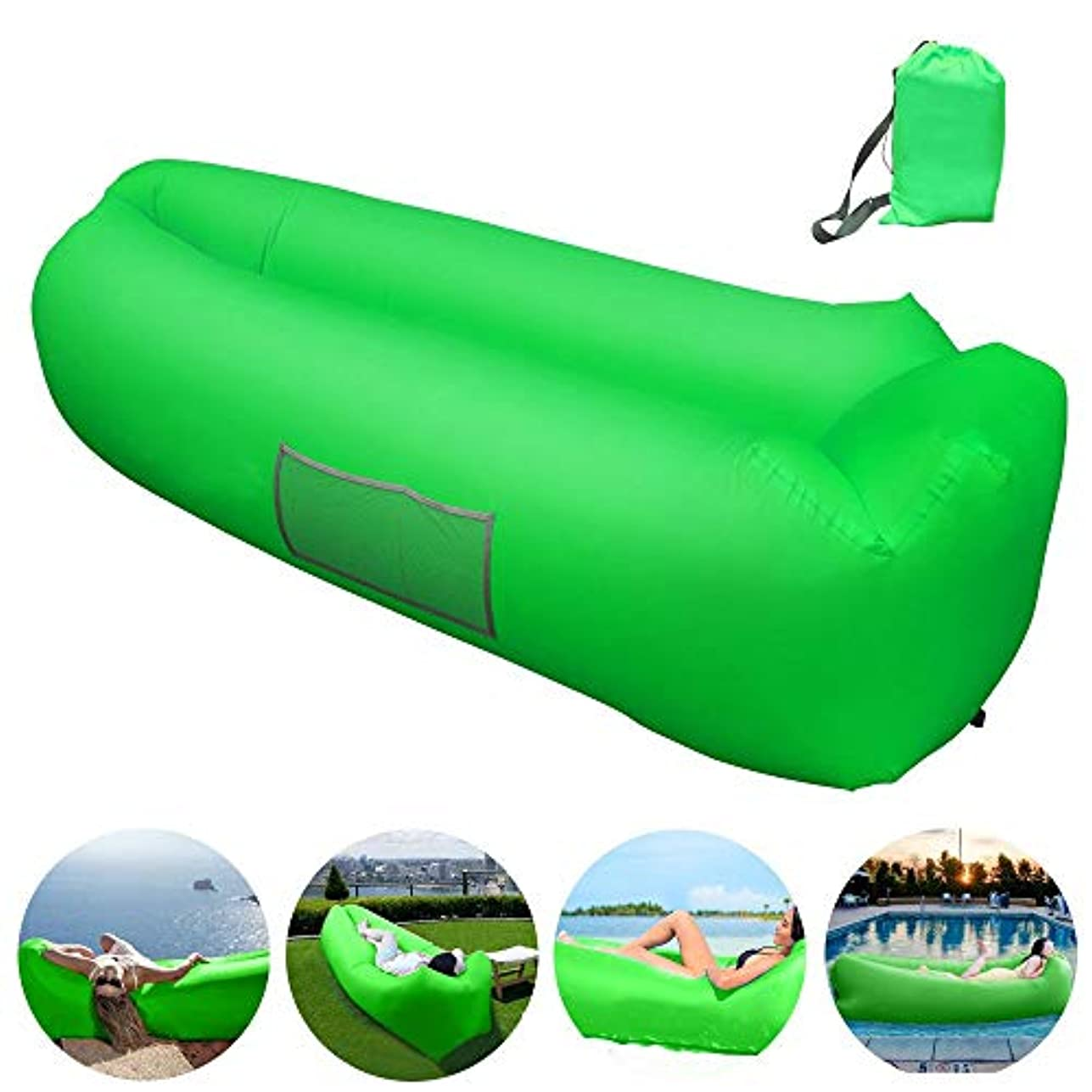 抹消劣る政策Inflatable Lounger, Inflatable Couch Hammock with Storage Pocket Waterproof& Anti-Air Leaking Air Lounger Portable Air Sofa Inflatable Chair for Indoor or Outdoor Use, Camping, Beach (LoungerG-Old) [並行輸入品]