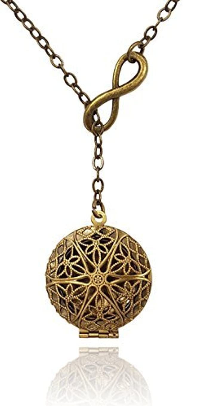 概して特徴づけるファンEternity Infinity Bronze-tone Brass-tone Aromatherapy Necklace Essential Oil Diffuser Locket Pendant Jewelry Lariat...