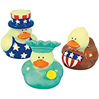 Fun Express 4th of July Patriotic Rubber Duck Ducky Party Favors Toy (2 Dozen) by Fun Express [並行輸入品]