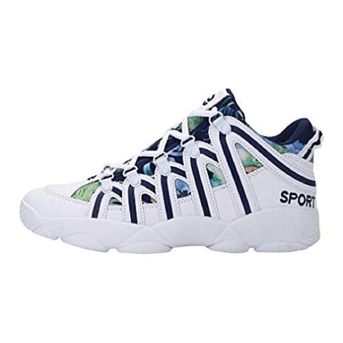 EIMEI メンズ レディース HIP-HOPヒップホップ ハイカットスケートシューズ 背が高くなるシークレット靴 ライン ストライプ 厚底スニーカー 身長6~8cm UP (26.5cm, ホワイト&ブルー)