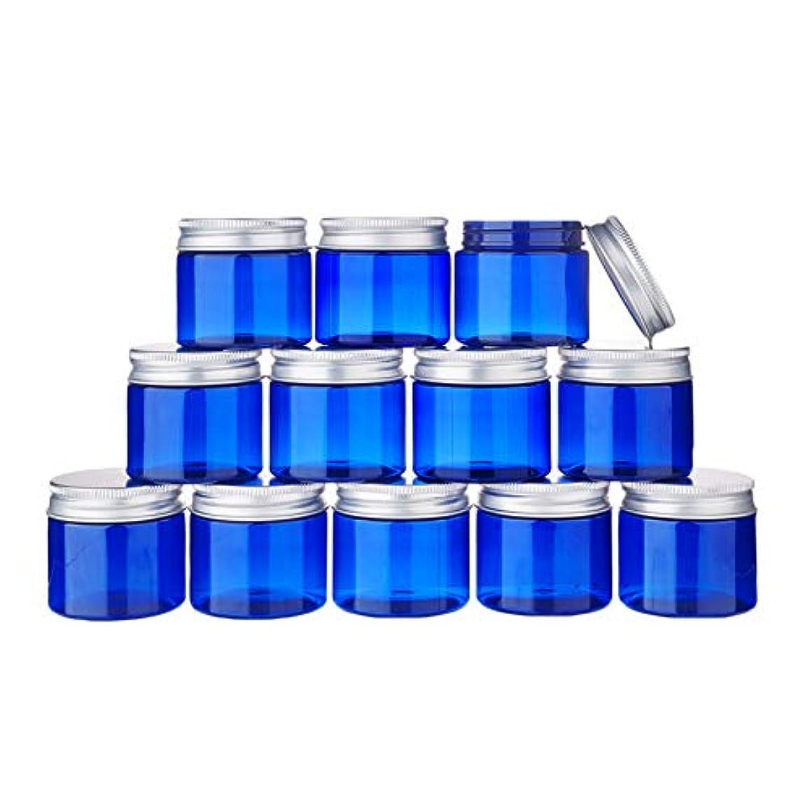 捕虜ドラマ前部BENECREAT 12個セット50gクリームケース 青色空ケース アルミ蓋 広口ケース クリーム ジェル 小分けケース 詰め替えケース