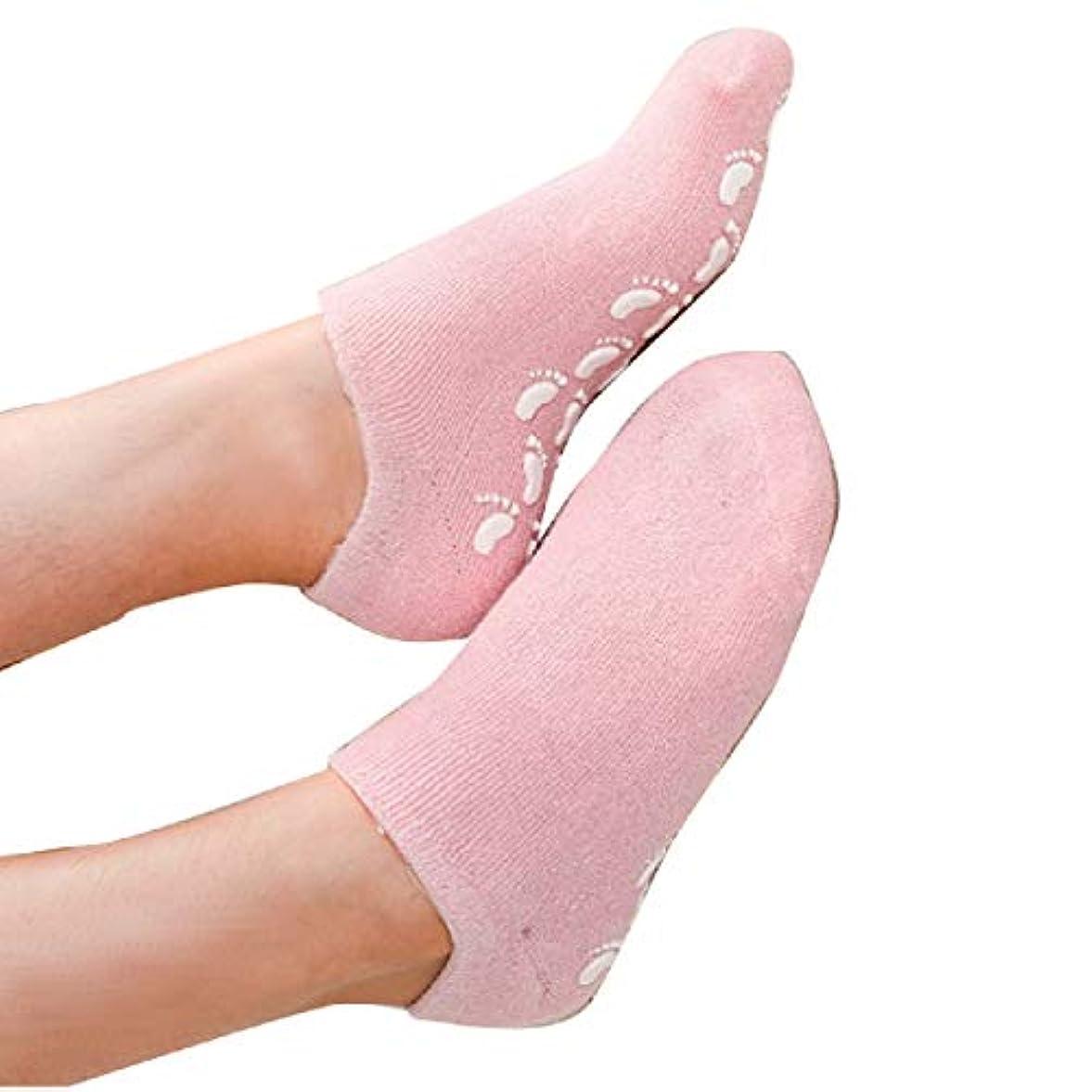猟犬スタイル飢えS&E かかと 靴下 保湿 ソックス 美容成分 潤い ゲル付き 滑り止め 足裏 足の甲 ホホバオイル グレープシード ビタミンE ラベンダー ローズ (ピンク)