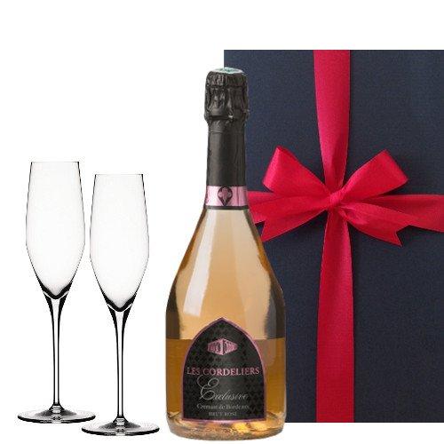 スパークリングワインのギフトセット、シャンパングラス付き、 ボルドーのロゼスパークリングワイン、フランス 、750 ml、シャンパングラスペア