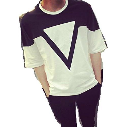 【ARINCO】 オシャレ バイカラー Tシャツ メンズ ラウンドネック カジュアル ゆったり カッコイイ サイズ M L XL 大きい サイズ (M)