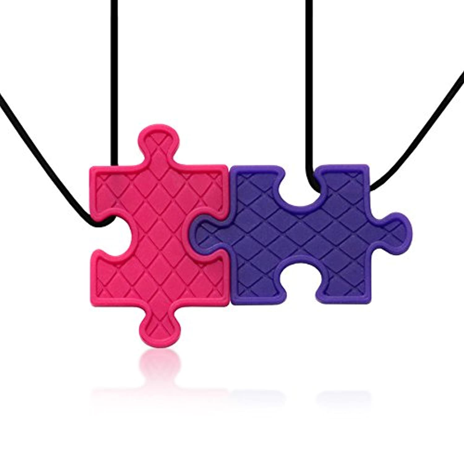 Puzzle Pendant Duo - Silicone Necklaces (Teething, Nursing, Sensory) (Fuchsia Pink/Plum Purple) by Siliconies