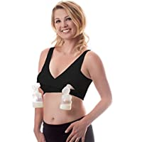 It's Back! Classic Pump&Nurse Nursing Bra with Built-in Hands-Free Pumping Bra and Adjustable Back Clasp - Black M