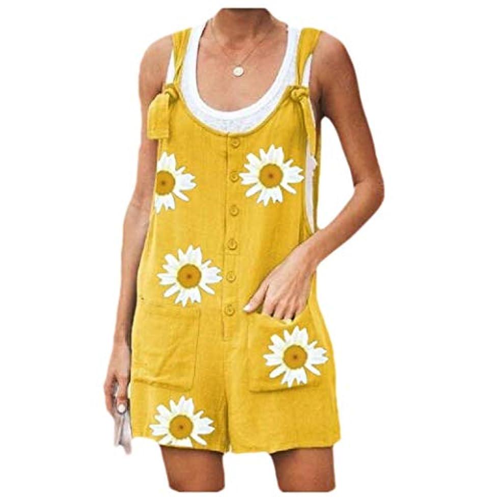 それにもかかわらず仕事に行く空気AngelSpace Womens Casual Floral Printed Rompers with Pockets One Piece Jumpsuit Pant