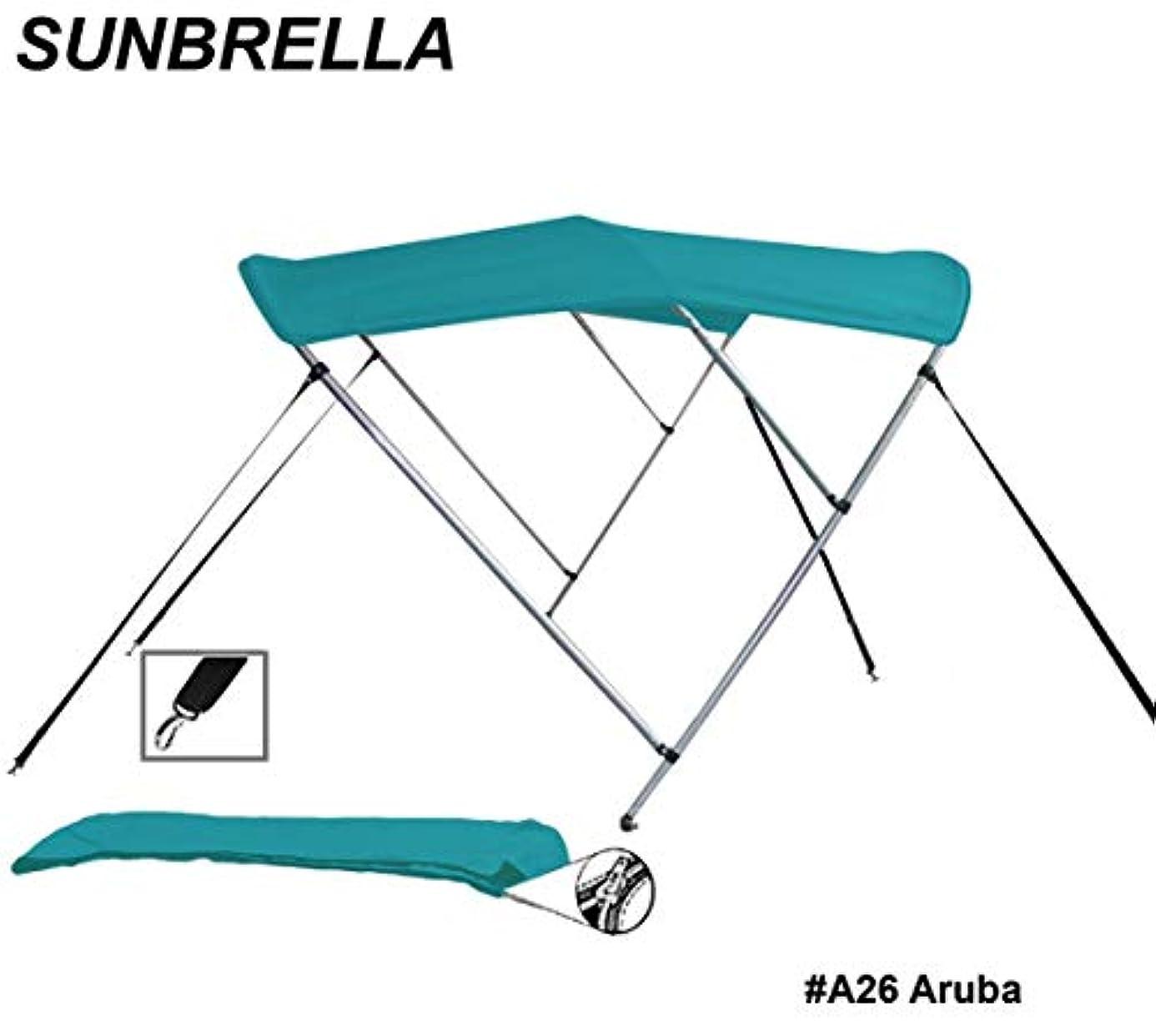 仮装領事館世界ラウンドチューブ 3ボウ ボート ビミニトップ サンシェード トップ 幅73インチ?78インチx高さ35インチ/30インチx長さ6フィート サンブレラ アクリルおよびアルミフレーム