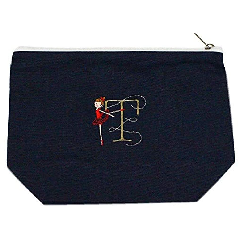 くるくる二年生判決Shinzi Katoh バレエ イニシャル刺繍ポーチ (T) ミッドナイトブルー PC011MB