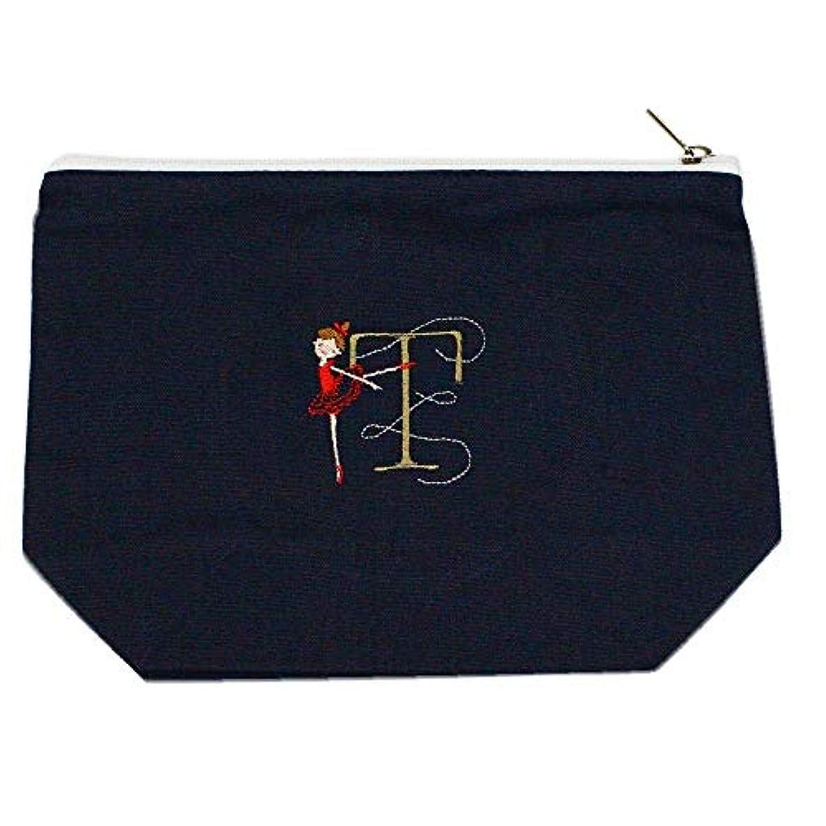 スケルトン嵐の案件Shinzi Katoh バレエ イニシャル刺繍ポーチ (T) ミッドナイトブルー PC011MB