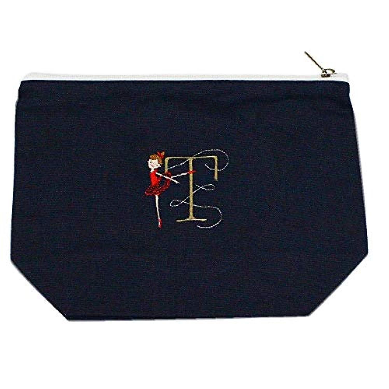 極端な経験者文明化するShinzi Katoh バレエ イニシャル刺繍ポーチ (T) ミッドナイトブルー PC011MB