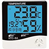LED Night Light Indoor Humidity Monitor Temperature Sensor Hygrometer Thermometer with Date Time Alarm Clock (HTC-8A)