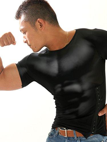 トリプルエス 加圧インナー 加圧シャツ 筋トレ マッスルエックス 着るだけマッチョ 着圧下着 (L, 黒)