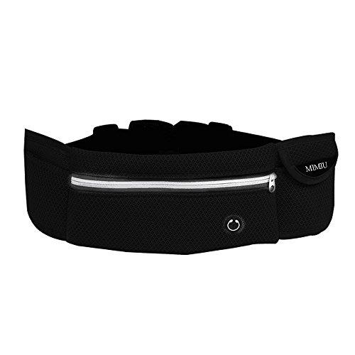 MIMIU ランニングポーチ ウエストバッグ 多機能ウエストポーチ iPhone 7 Plus/6S Plus/デジカメ/ペット ボトル等収納可能 軽量 5ポケット アウトドアに最適 ブラック …