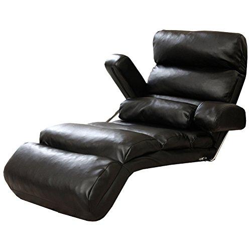 LOWYA 座椅子 肘掛け付き 長座椅子 14段階 リクライニング 3点可動 PVCレザー ブラック