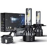 H4/9003/HB2 車用 LED ヘッドライト 電球 キット、MindskyミニシリーズLumileds-ZESチップ ハイ/ロービームLedヘッドランプファン付き、12800LM(6000Kキセノンホワイト)スーパーブライト、3年間の保証