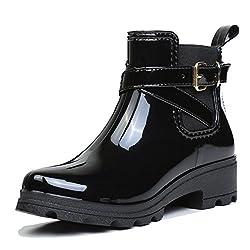 First Encounter ショートブーツ 無地 防水 レインシューズ 滑り止め 雨靴 短靴サイドゴアショート おしゃれ女性
