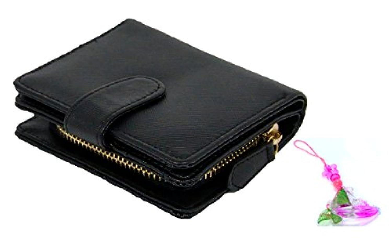 レディース & ガールズ 二つ折 サイフ 小銭入れ カード入れ 付 コンパクト 財布 カラフルストラップ付(ブラック)