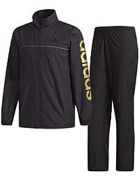 アディダス(adidas) M ESS BIGリニアロゴウインドブレーカージャケット&パンツ 裏起毛 上下セット(ブラックゴールドメット) FAO93-DN1388-FAO92-DN1370