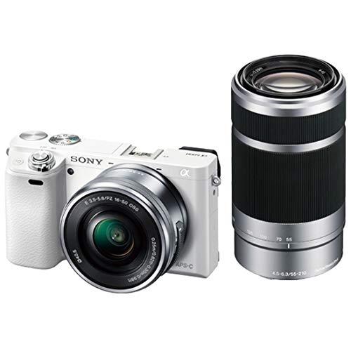 ソニー SONY ミラーレス一眼 α6000 ダブルズームレンズキット E PZ 16-50mm F3.5-5.6 OSS + E 55-210mm F4.5-6.3 OSS ホワイト ILCE-6000Y W