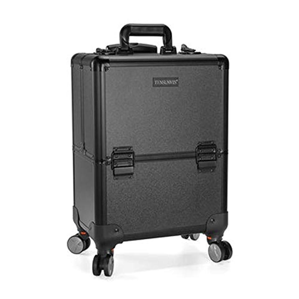 透けるポルノ対角線プロ専用 美容師 クローゼット スーツケース メイクボックス キャリーバッグ ヘアメイク プロ 大容量 軽量 高品質 多機能 I-TT-317T-B
