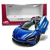 Kinsmart 1:36 Die-Cast McLaren MSO 720S Car Metal Blue Model with Box Collection Christmas New Gift