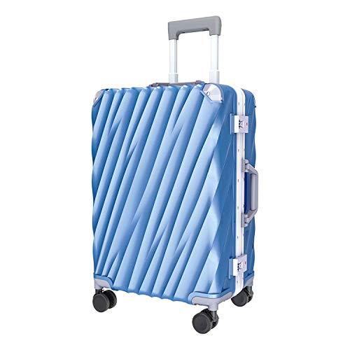 Moriou スーツケース キャリーケース 機内持ち込みサイズから TSAロック アルミフレーム PC+ABS 半鏡面仕上げ 8輪 ダブルキャスター 静音 軽量 アイスブルー 機内持ち込み