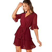 SheIn Women's V Neck Half Sleeve Chiffon Tie Waist Ruffle Hem Surplice Dress