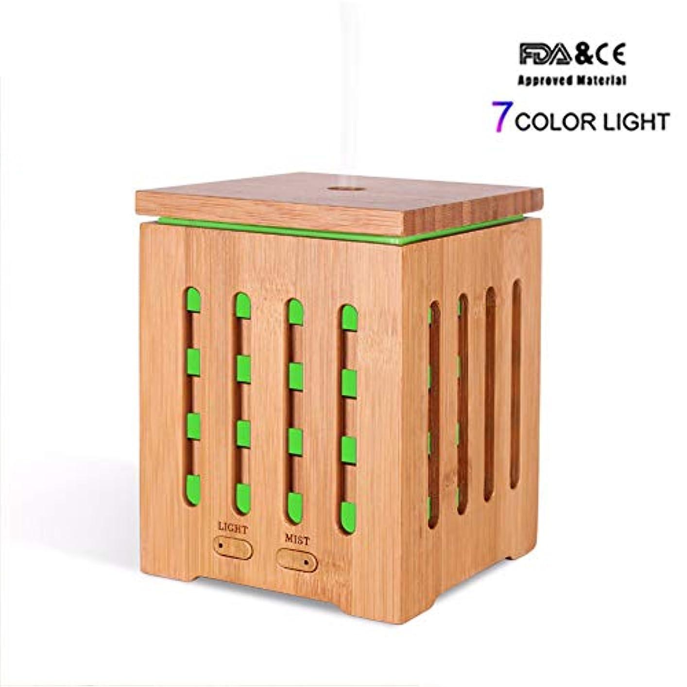 漏れ確認してください格納200MLリアル竹エッセンシャルオイルディフューザーアロマテラピー空気加湿器7色LEDライトホームワークスSPA健康的