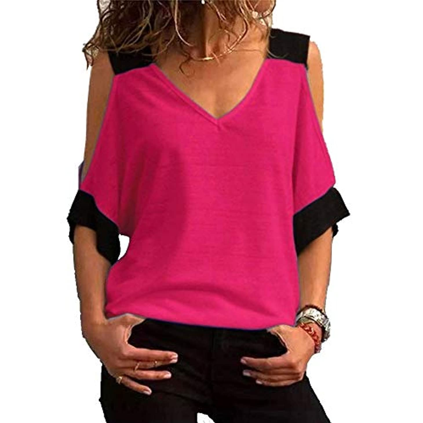 その間メンター意外MIFAN女性ファッションカジュアルトップス女性ショルダーブラウスコットンTシャツディープVネック半袖