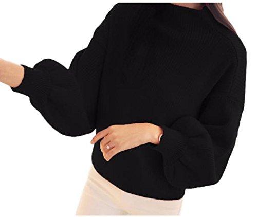 [オチビ] きれいめ 大人 あったか やわらかい リブニット バルーン 七分 袖 オフタートル セーター 秋冬 ブラック グレー ホワイト レディース かわいい ゆったり 秋服 クラシック オフィス デート ワッフル 通勤 ウール ママコーデ 女子会 合コン 体型 二の腕 カバー 秋 着痩せ ファッション 40代 l 女性 婦人 ふわふわ 7分 フェミニン F01-01LKN-24BKF