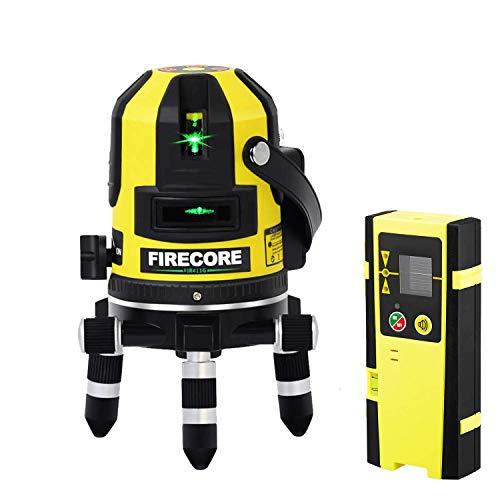 【改良版】Firecore5ライン グリーンレーザー墨出し器 FIR411G レーザーレベル 高輝度 高精度 大矩 受光器...