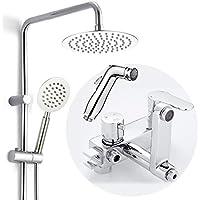 浴室シャワー蛇口セット - すべての銅リフティング&リフティングシャワーヘッドセット、豪華なバスルームレインシャワー蛇口セットめっきシステム、壁掛け