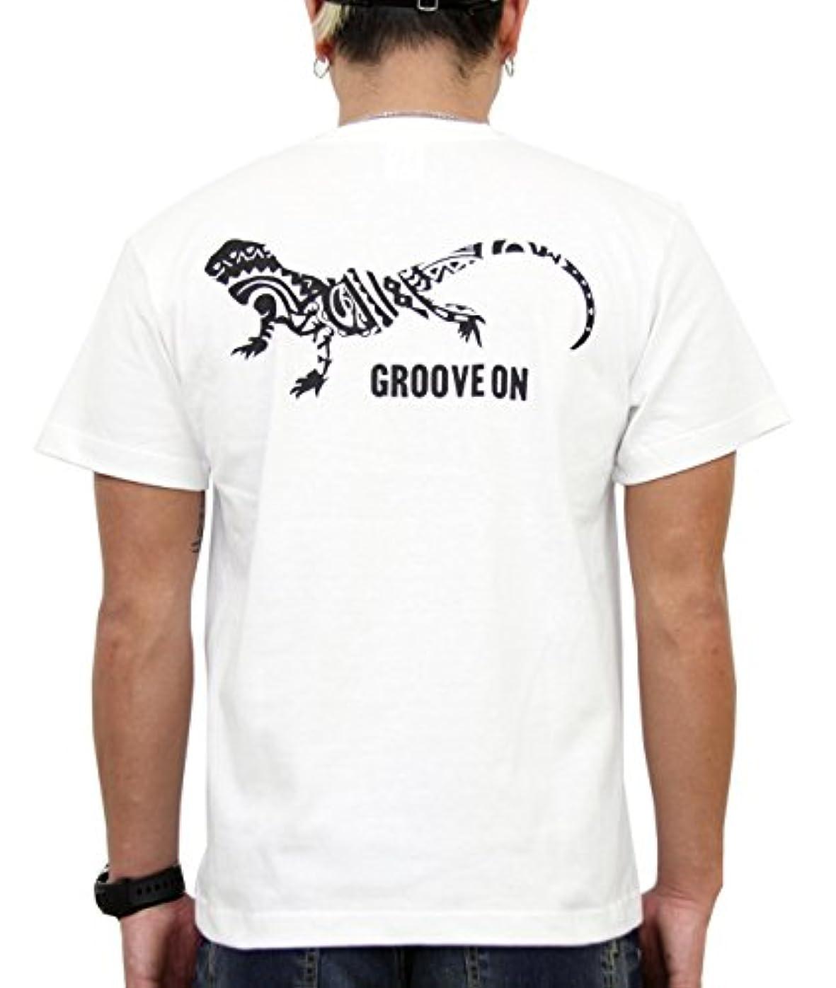 計器と闘う中止します(グルーブオン) GROOVEON Tシャツ メンズ おおきいサイズ 半袖 プリント トップス サーフ系 カットソー カメレオン ブランドロゴ 柄 gost4604