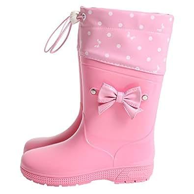 [アリサナ] レインブーツ フード付き キッズ 女の子 ピンク 16cm