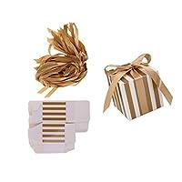 【ノーブランド品】 約50個 スクエア キャンディ ボックス 結婚式 パーティー 装飾 リボン付き 全2色 - ゴールド