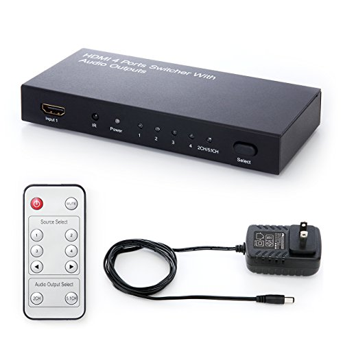 サンワダイレクト HDMIセレクター HDMI切替器 4入力×1出力 光、同軸デジタル出力付き 3D対応 リモコン付 400-SW015