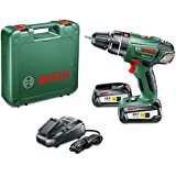 Bosch PSB 18 LI-2 Cordless 18v Hammer Drill/Driver with 2 x 2.5 Ah Lithium-Ion Batteries and Charger