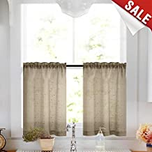 jinchan Sheer Linen Tiers for Bedroom Window Curtain Set for Living Room Drapes Set of Two, 26 by 24 Inch Long, Taupe