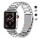 SUNDAREE® Compatible with Apple Watch バンド 38mm&40MM ステンレス、ビジネス風のベルト、アップルウォッチバンド、高品質なステンレススチール製バンド、ステンレス留め金製、for Apple Watch ベルト 全機種対応 for Apple Watch Series 4/3/2/1(スチール製-銀38&40mm)