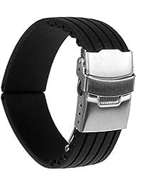 時計バンド 交換ベルトシリコーンゴム 腕時計ストラップ 防水 22mm (ブラック)