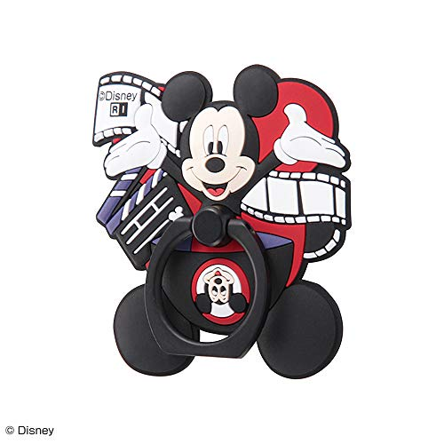 イングレム スマホリング [ やわらかリング ] ディズニー/ミッキー マウス 90周年デザイン [ 立体的なダイカット ] [ 曲面・ガラス素材にも貼り付くやわらかシリコン素材 ] IF-DSBKR/AMK03