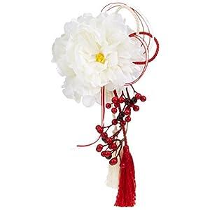 響花(Hibika) 造花 ホワイト 6x24x12cm 和風 髪飾り 和モダン アーティフィシャルフラワー