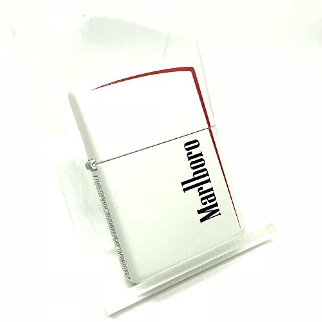 セッション藤色ファウルZIPPO (ジッポー) マルボロ Marlboro ホワイトマット レッドライン ブラックロゴ