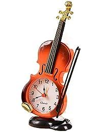 【morningplace】バイオリン 風 目覚まし時計 お洒落 クラシック デザイン インテリア に (ブラウン)
