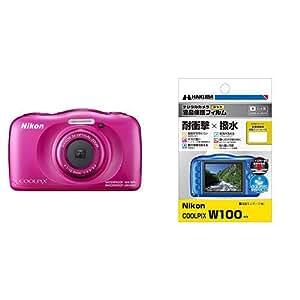 Nikon デジタルカメラ COOLPIX W100 防水 W100PK  クールピクス ピンク & HAKUBA デジタルカメラ液晶保護フィルム 「耐衝撃」「撥水」タイプ Nikon COOLPIX W100 / S33 専用 DGFS-NCW100