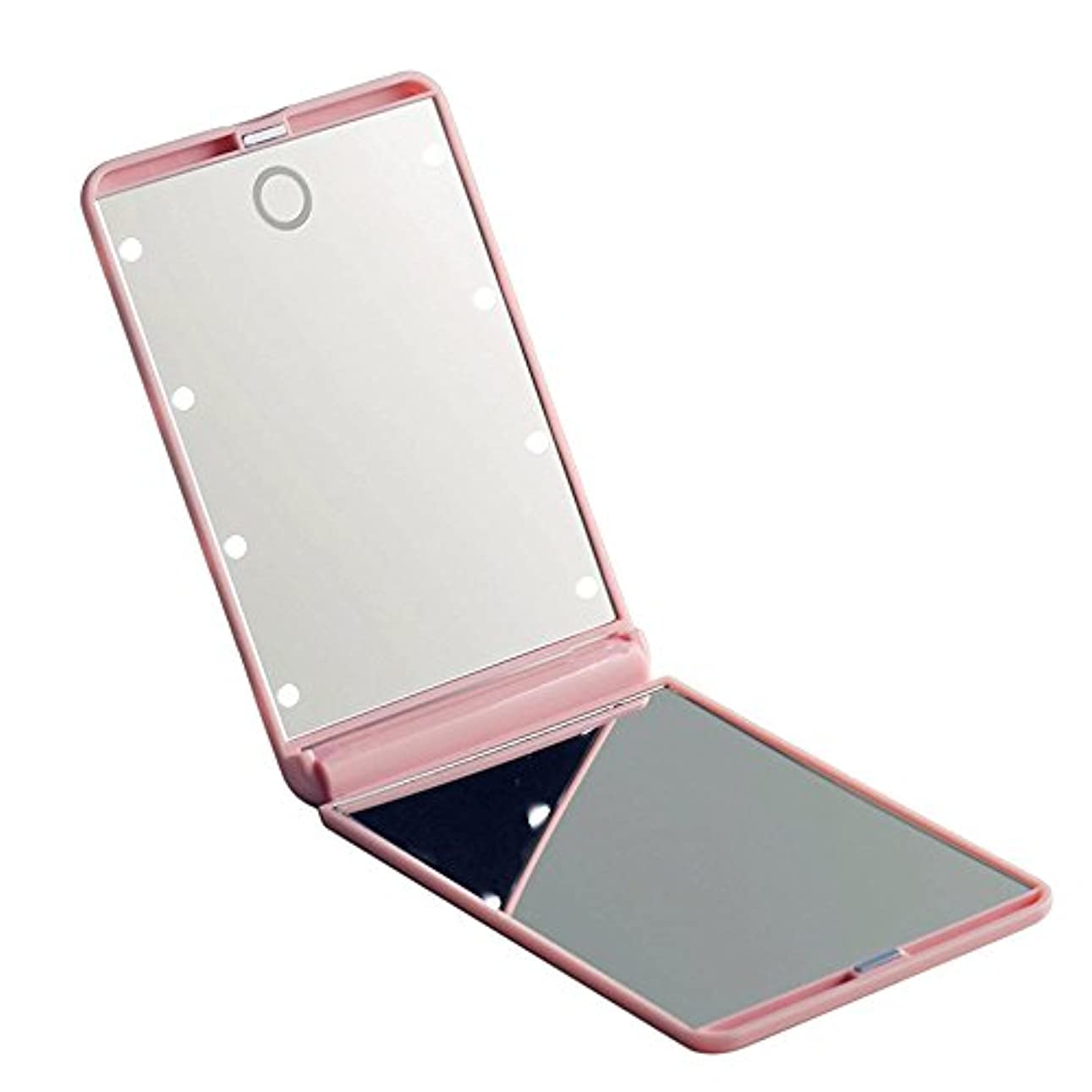 農村矢変成器led化粧鏡 二面鏡 折りたたみ式 LEDライト メイクミラー 明るさ調整 コンパクトミラー 2倍拡大鏡付 ピンク