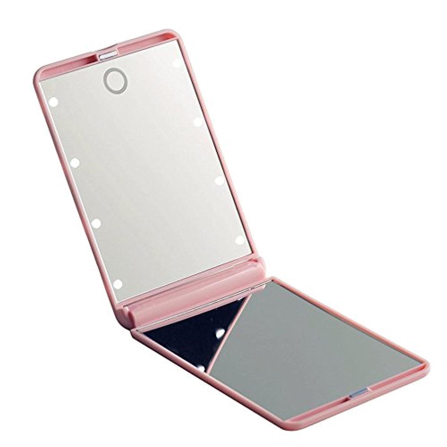 閲覧する焦げなめるled化粧鏡 二面鏡 折りたたみ式 LEDライト メイクミラー 明るさ調整 コンパクトミラー 2倍拡大鏡付 ピンク